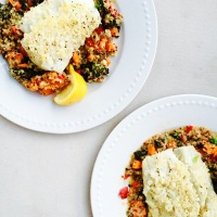 Panko Crusted Cod over Organic Superfood Pilaf