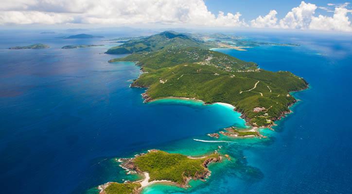 aerial shot of East End, St. Thomas, US Virgin Islands
